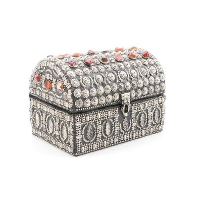 Stone Inlay and Metalworks Chest Shaped Trinket or Vanity Box, Mid-20th Century