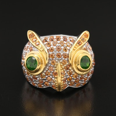 Sterling Diopside and Fancy Sapphire Owl Ring