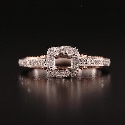 14K Diamond Semi-Mount Ring