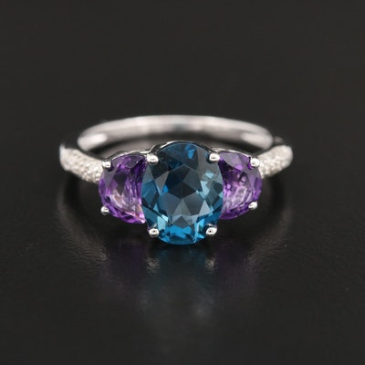 Sterling Topaz, Amethyst and Diamond Ring