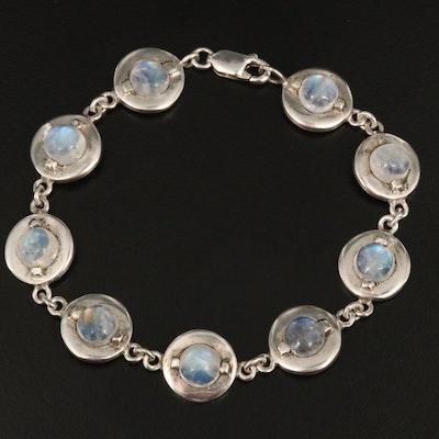 Sterling Silver Moonstone Link Bracelet