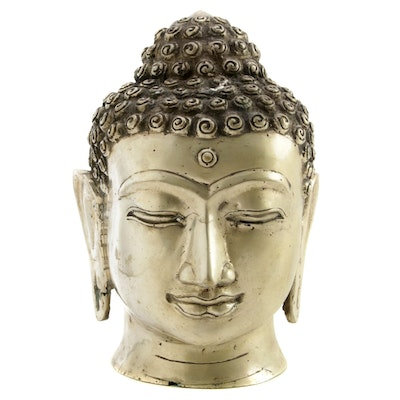 Tibetan Metal Buddha Head Figurine, Mid to Late 20th Century