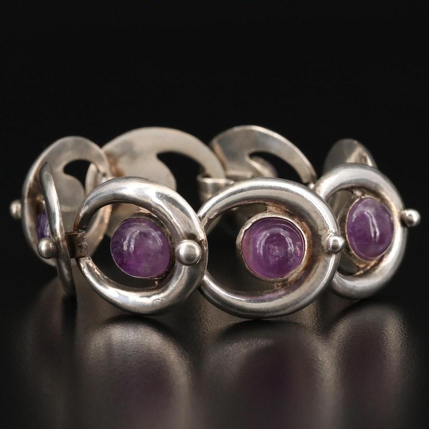 Sterling Silver Amethyst Open Work Bracelet