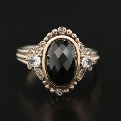 Sterling Silver Black Spinel and Topaz Ring