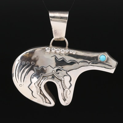 Southwestern Style Sterling Silver Turquoise Bear Pendant