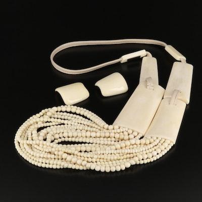 Vintage Gerda Lynggaard for Monies, Carved Bone and Bead Necklace with Earrings