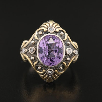 Sterling Silver Amethyst Ring with Diamond Accents