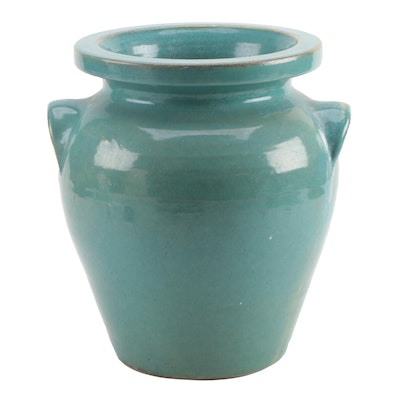 Pickfull Wheel Thrown Ceramic Floor Vase with Applied Lug Handles