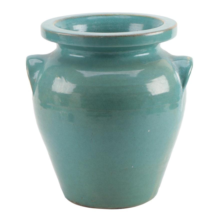 Pickfull Wheel Thrown Ceramic Floor Vase with Applied Lug Handles
