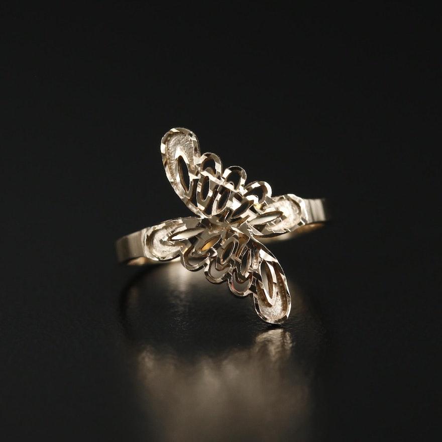 10K Diamond Cut Edging Openwork Bypass Ring
