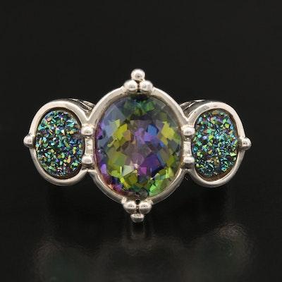 Sterling Silver Mystic Quartz and Druse Quartz Ring