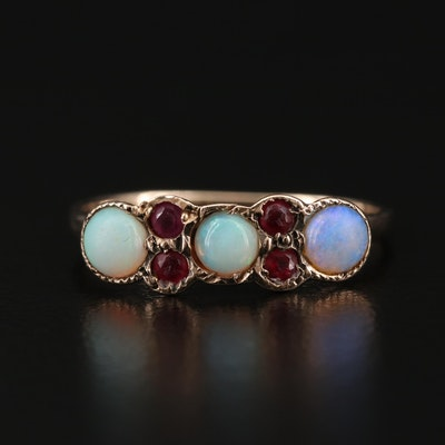 Victorian 9K Opal and Glass Ring