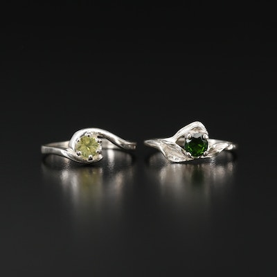 Sterling Silver Rings with Diopside and Topaz