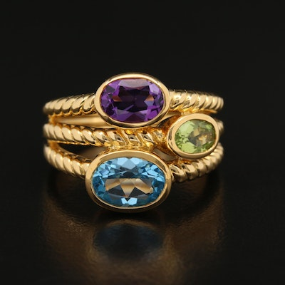 Sterling Silver Amethyst, Topaz, and Peridot Ring