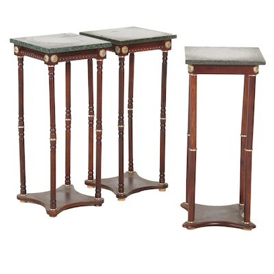 Three Neoclassical Style Granite and Wood Side Tables