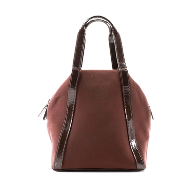 Gucci Dark Brown Nylon and Patent Leather Two-Way Sac Bag