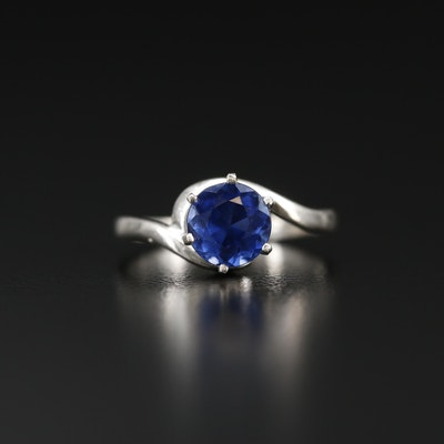 Sterling Silver Sapphire Bypass Ring