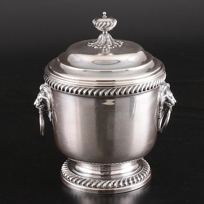 International Silver Plate Ice Bucket with Lion Handles and Glass Interior