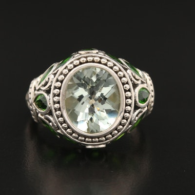 Sterling Silver Prasiolite and Diopside Ring