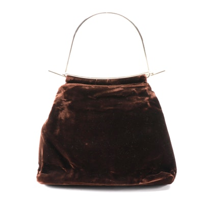 Fendi Brown Velour with Slip Handle Bag, Late 20th century