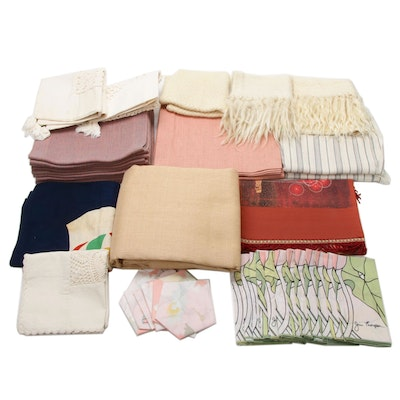 Jim Thompson Table Linens, Pillowcovers, Mohair Centerpiece and Fabric