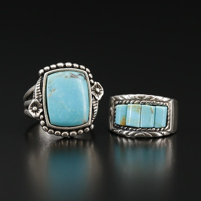 Sterling Silver Turquoise and Faux Turquoise Ring