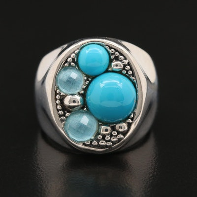 "Michael Dawkins ""Starry Night"" Sterling Silver Turquoise and Blue Topaz Ring"