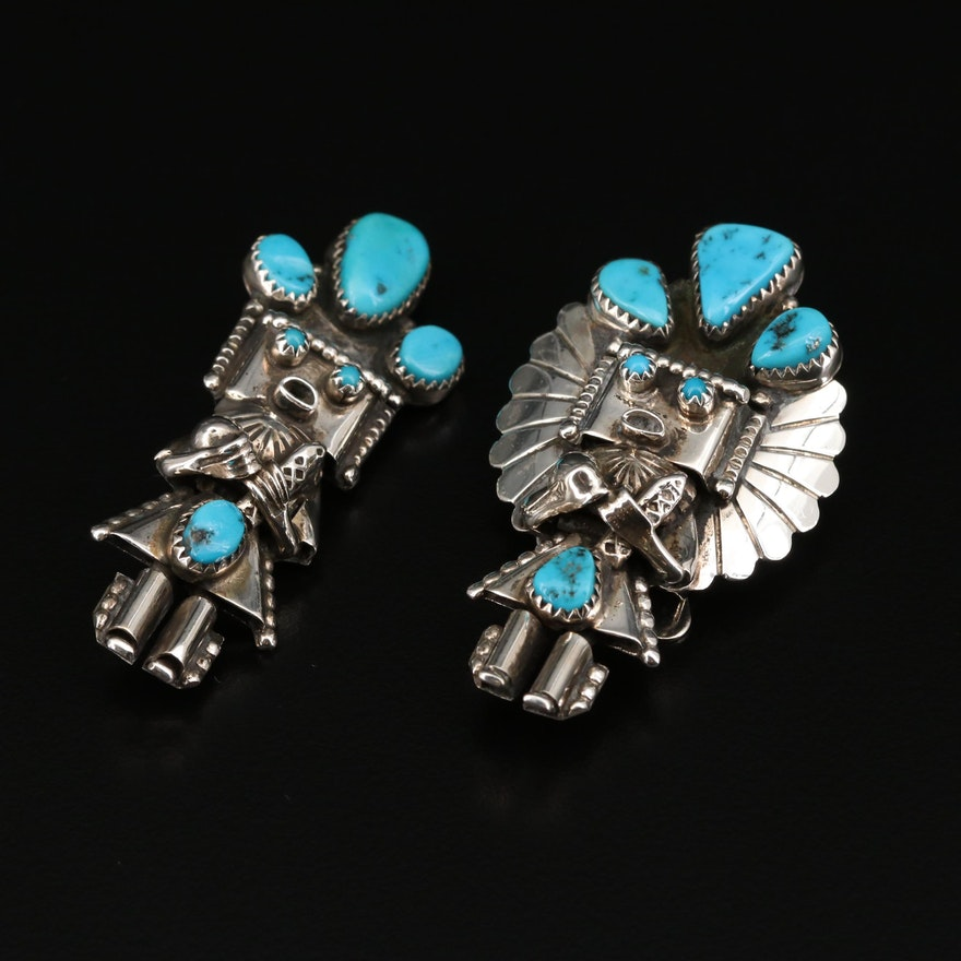 Signed Western Sterling Turquoise Kachina Bolo Tie and Converter Brooch