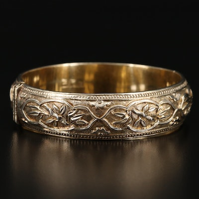 Chinese 800 Silver Bamboo Hinged Bracelet