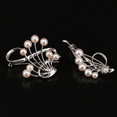 Vintage Mikimoto Sterling Cultured Pearl Brooches