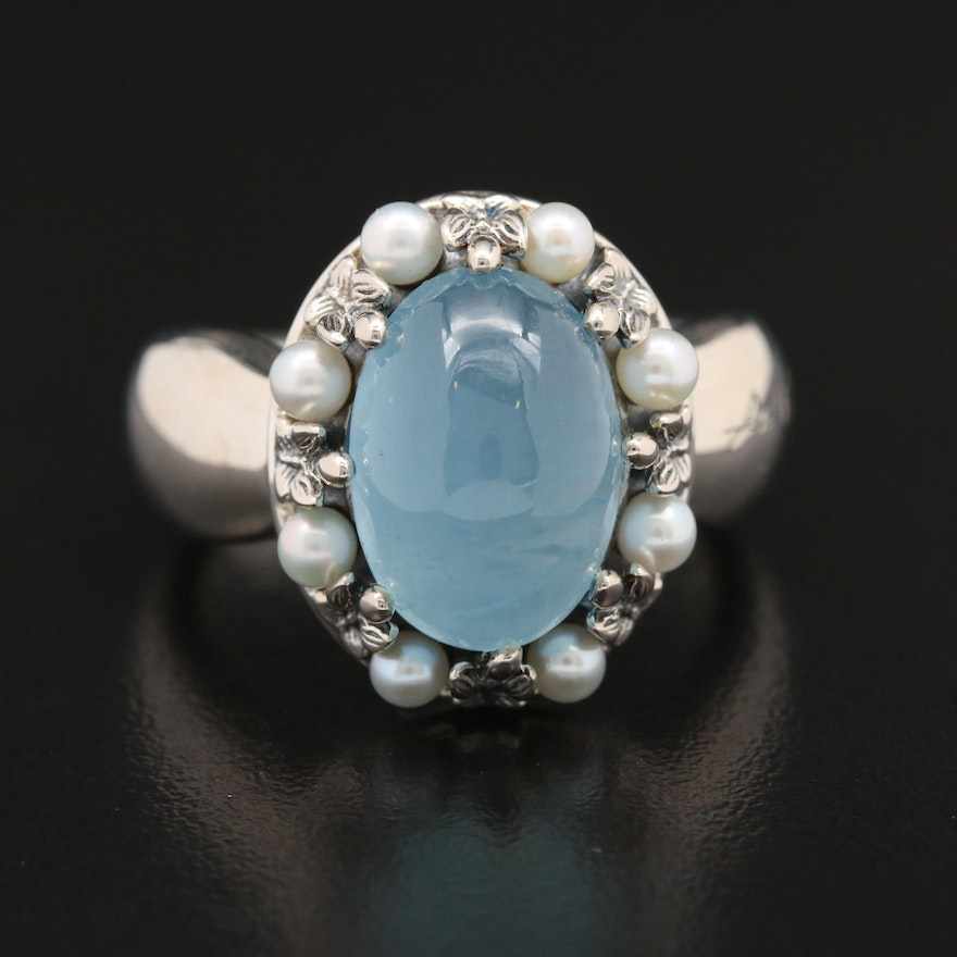 Ann King Sterling Silver Aquamarine and Pearl Ring
