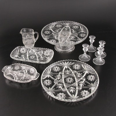 "Anchor Hocking ""Prescut"" Clear Glass Serveware and Candle Holders"