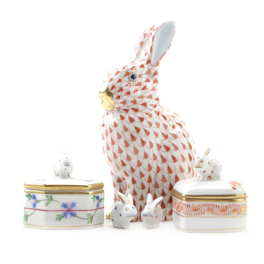 """Herend Rust Fishnet """"Rabbit"""" Porcelain Figurine with Heart-Shaped Box and More"""