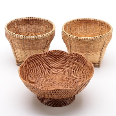 Handwoven Wicker Baskets and Centerpiece Bowl