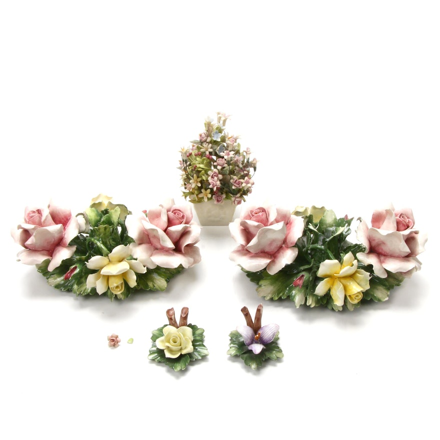 Capodimonte Porcelain Flower Candle Holders and Figurines