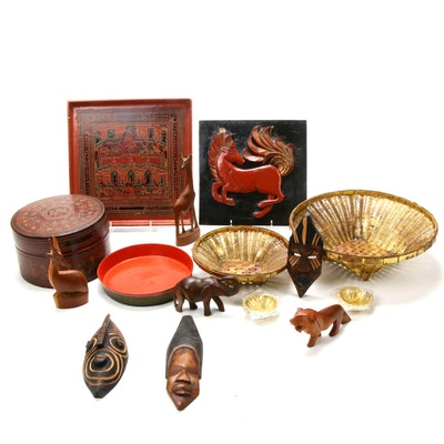 Thai Lacquerware, South African Animal Sculptures, Ghana Masks and More