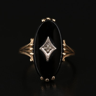 Vintage 10K Black Onyx and Diamond Ring