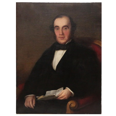 American School Oil Portrait, Possibly Reverend James Schofield, 19th Century