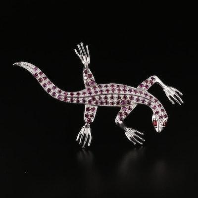 Sterling Silver Garnet Lizard Brooch