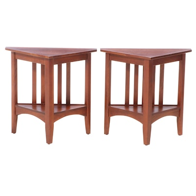 Pair of Ethan Allen Arts and Crafts Style Cherry Side Tables