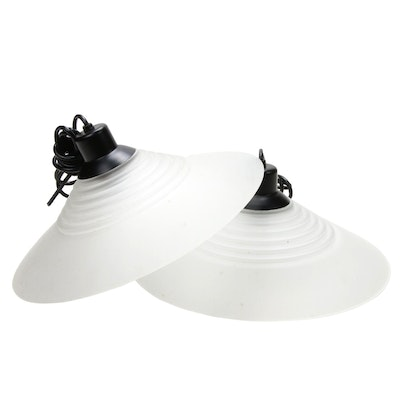 Pair of Viokef Greek Hand-Made Frosted Glass Disc Pendant Lights