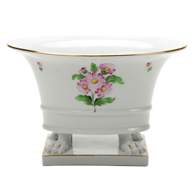 Herend Student Hand-Painted Porcelain Claw-foot Oval Jardinière