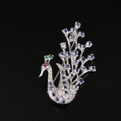 Sterling Silver Tanzanite, Garnet and Emerald Peacock Brooch