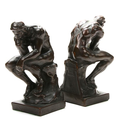 """Early 20th Century Bookends After Rodin """"The Thinker"""""""