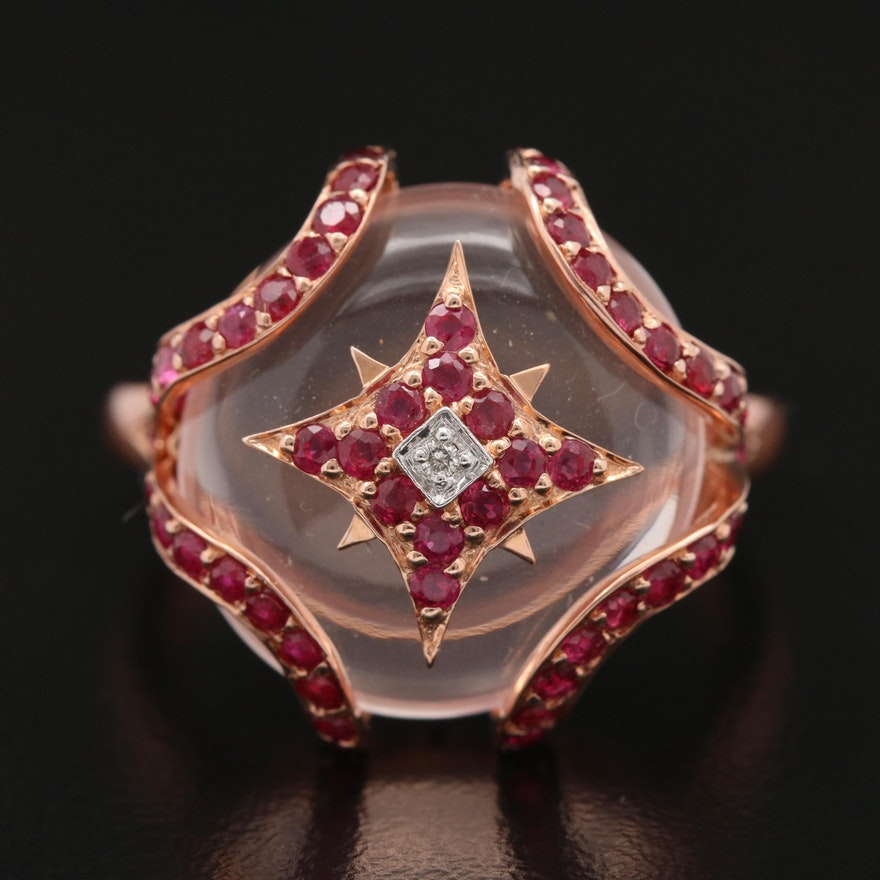10K Rose Gold Rose Quartz and Ruby Ring with Diamond Accent