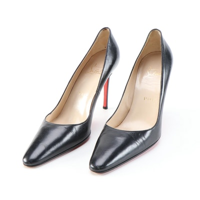 Christian Louboutin Black Leather Stiletto Pumps