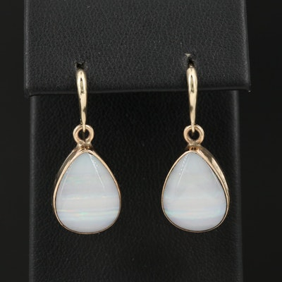 L.R. Bennett 10K Opal Drop Earrings With 14K Wire Hooks