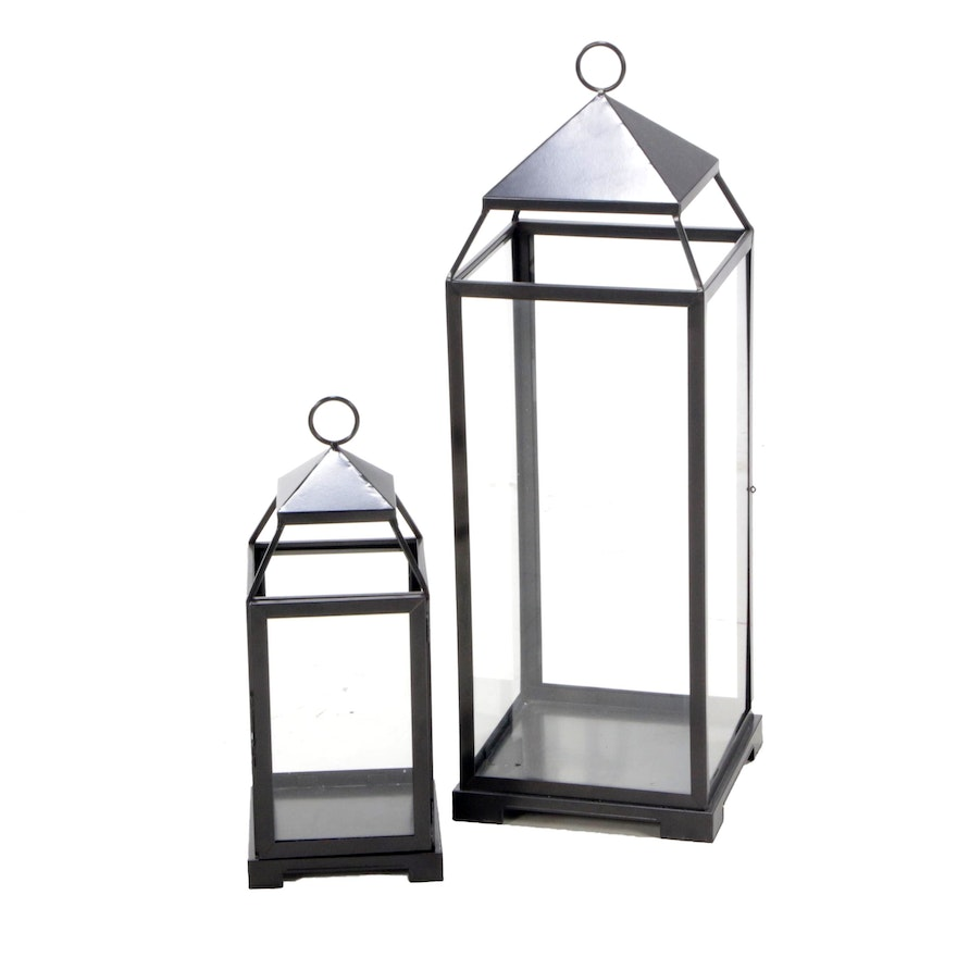 Pottery Barn Malta Glass and Metal Lanterns with Bronze Finish