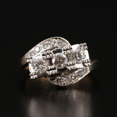 Vintage 14K Diamond Bypass Style Ring