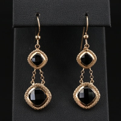 14K Black Onyx Drop Earrings